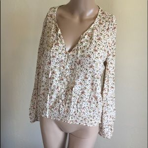 MUDD FLORAL RAYON LONG SLEEVE TOP